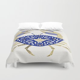 Crab – Navy & Gold Duvet Cover
