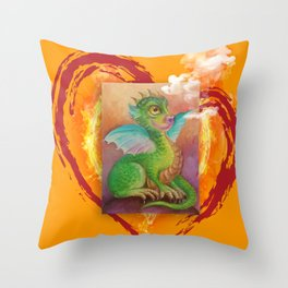 Heart of Baby Dragon Throw Pillow