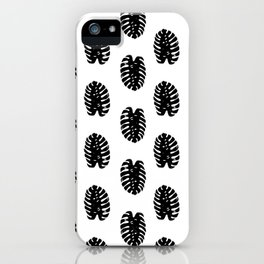 Linocut Monstera leaf cute black and white abstract children trendy illustration lino printmaking iPhone Case