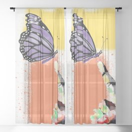 Come here sweet butterfly Sheer Curtain