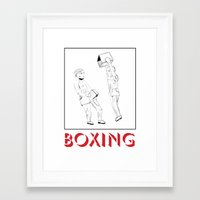 boxing Framed Art Prints featuring boxing by naïve magic