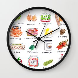 Grocery shopping list Wall Clock
