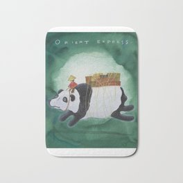 Big Panda Bear delivers gift packages like a Courier - Painting by Lisa Rotenberg Bath Mat