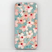 bedding iPhone & iPod Skins featuring Shabby Chic Hibiscus Patchwork Pattern in Peach & Mint by micklyn