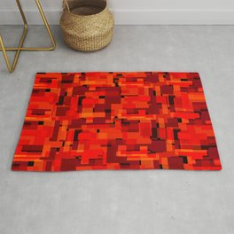 Bright tile of red intersecting rectangles and orange bricks. Rug