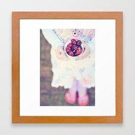 Sweet Cherry Girl Framed Art Print