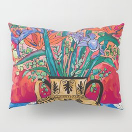 Icarus Floral Still Life Painting with Greek Urn, Irises and Bird of Paradise Flowers Pillow Sham