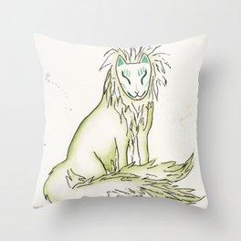 Moss Hidden Kitsune.  Throw Pillow