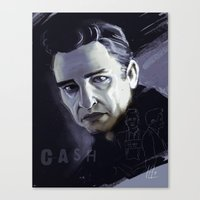 johnny cash Canvas Prints featuring Johnny Cash by Luis Dourado