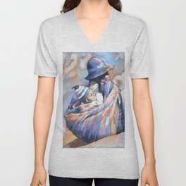 Watercolor painting of traditionally dressed Quechua woman in the Plaza de Armas- Cusco, Peru. Unisex V-Neck