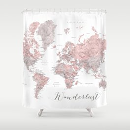 Wanderlust - Dusty pink and grey watercolor world map, detailed Shower Curtain
