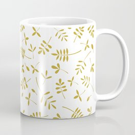 Gold Leaves Design on White Coffee Mug