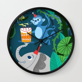 Jungle Monkey Birthday Party Wall Clock
