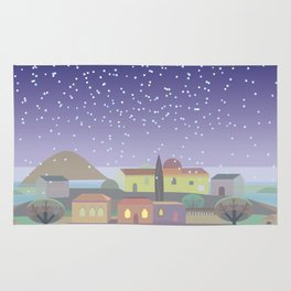 Snowing Village at Night (Square) Rug