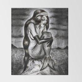 Black Mermaid Throw Blanket