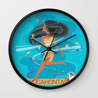 pocahontas Wall Clocks featuring Pocahontas by LindseyCowley
