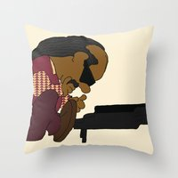 stevie nicks Throw Pillows featuring Stevie Schroeder by happytunacreative