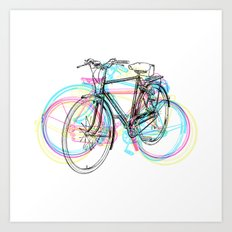 Artistic modern pink teal abstract bicycles art Art Print