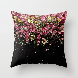 Black drooping flowers Throw Pillow