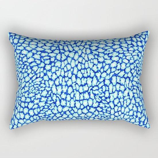 Blue Glitter Leopard Print Rectangular Pillow