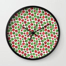 Holiday Paw Print Pattern Wall Clock