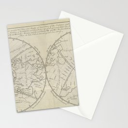 A map of the Earth, from Astronomy explained upon Sir Isaac Newton's principles (1770) Stationery Cards