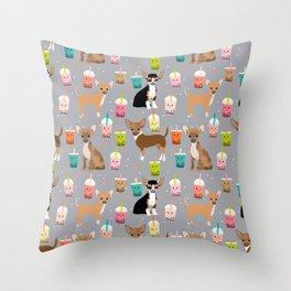 Chihuahua bubble tea kawaii boba tea cute dog breed pattern dog art chihuahuas Throw Pillow