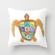 Sunny Sea Turtle Throw Pillow