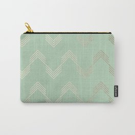 Simply Deconstructed Chevron in White Gold Sands and Pastel Cactus Green Carry-All Pouch