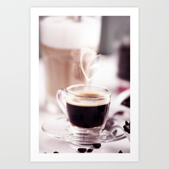Coffee with heart Art Print