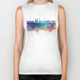 Washington DC V2 skyline in watercolor background Biker Tank