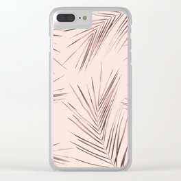 Rose Gold Pink Palm Leaves on Blush Clear iPhone Case