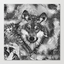 AnimalArtBW_Wolf_20170601_by_JAMColorsSpecial Canvas Print