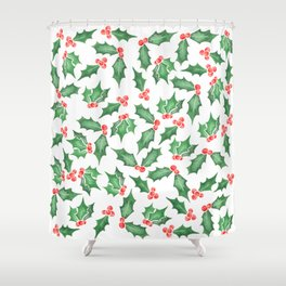 Snowy Watercolor Holly Shower Curtain