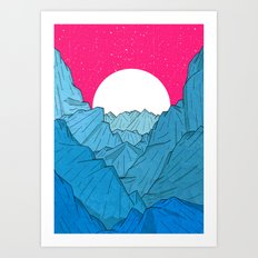 The moon over the mountains Art Print
