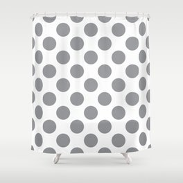 Grey Large Polka Dots Pattern Shower Curtain