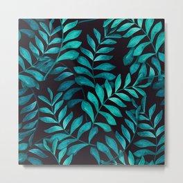 Tropical Fern pattern dark Metal Print