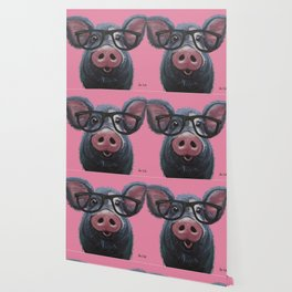 Pig with glasses art, Colorful pig art Wallpaper