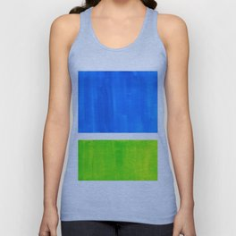 Abstract Minimalist Mid Century Modern Watercolor Geometric Squares Rothko Lime Green Marine Blue Unisex Tank Top