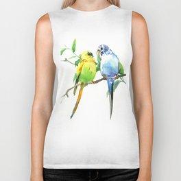 Budgies, Animal art, love, two birds bird artwork, bird pet Biker Tank