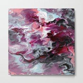 Raspberry Marble Metal Print