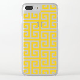 Large Gold and White Greek Key Pattern Clear iPhone Case