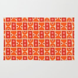 Mid Century Abstract Pattern Orange & Red Rug