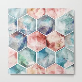 Earth and Sky Hexagon Watercolor Metal Print