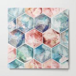 Earth and Sky Hexagon Watercolor Metal Print