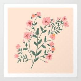 Mid Century Modern Botanical Magnolia Garden Art Print
