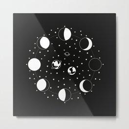 Wonder If - Moon Phase Illustration Metal Print