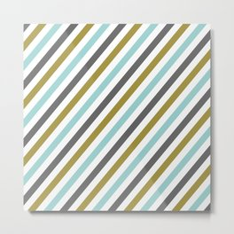 Mint color Diagonal stripe Metal Print