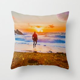 Into The Sunsets Throw Pillow