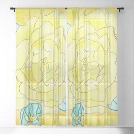 Neutral Rose Watercolor Sheer Curtain